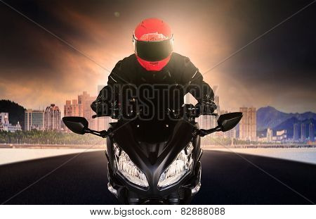 Close Up Rider Man Wearing Safety Suit And Anti Knock Helmet Riding Big Bike Motorcycle On Asphalt S