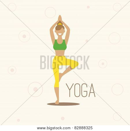 Vector yoga illustration. Surya Namaskara. Yoga set. Yoga exercises. Women yoga. Yoga class, yoga ce