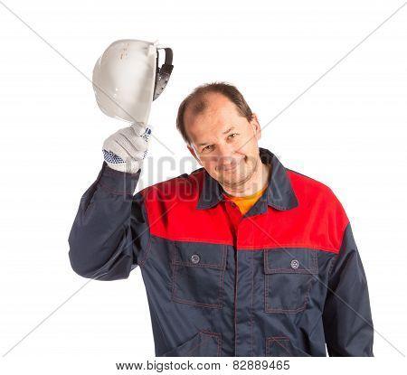 Worker with white helmet.