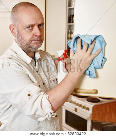 Cleaning man