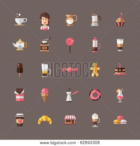Set of modern flat design coffee-shop, cafe and bakery icons
