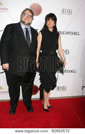LOS ANGELES - FEB 14:  Guillermo Del Toro, Lorenza Newton at the 2015 Make-up and Hair Stylists Guild Awards at a Paramount Theater on February 14, 2015 in Los Angeles, CA