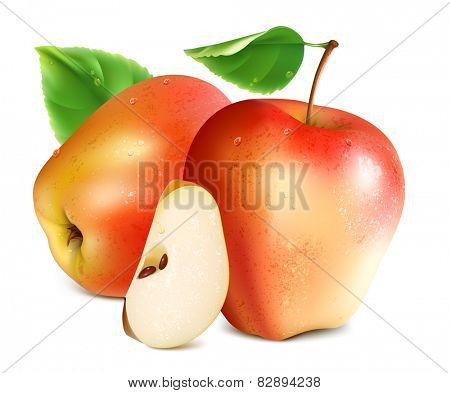 Red apples with slice and green leaf. Vector illustration