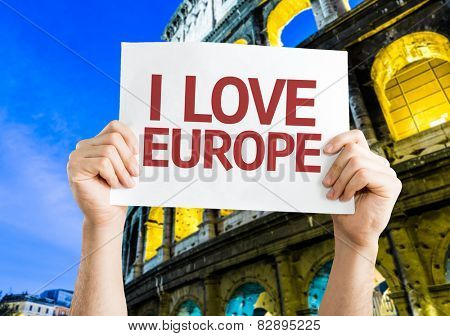 I Love Europe card with Coliseum background