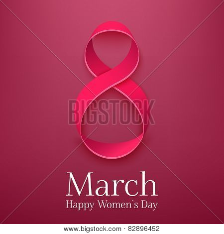 March 8 greeting card. Background template for International Womans Day