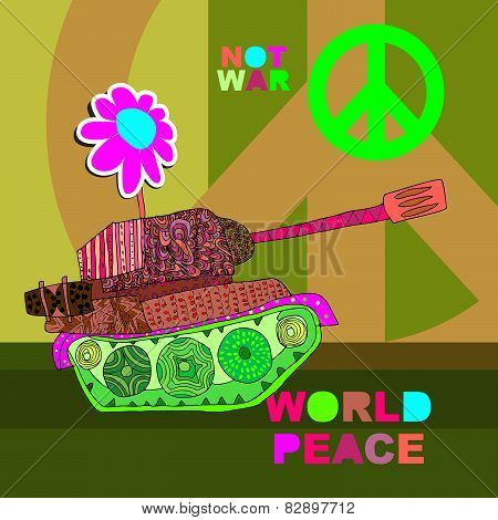 No war Postcard, poster. hippie background. world peace. Cartoon tank
