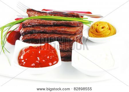 beef meat served with spices and seasoning