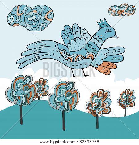 Cartoon cloud and birds pattern.