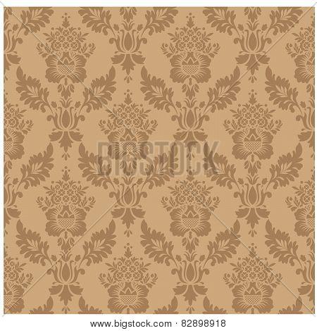 Vintage background  vector illustration. Damask seamless floral pattern.