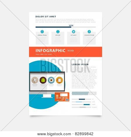 Brochure Design Templates. Mobile Technologies, Applications and Online Services Infographic Concept. Diagrams, Charts and Options for Prints, Flyers, Banners and Websites Design.