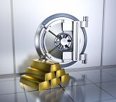 stock photo of vault  - bank vault with a stack of gold bars  - JPG