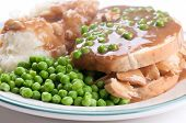 image of diners  - diner style open faced hot chicken sandwich with mashed potatoes - JPG