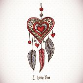 image of dream-catcher  - Doodle Greeting Card with Dream catcher and heart - JPG