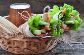stock photo of pita  - fresh vegetables in pita bread - JPG