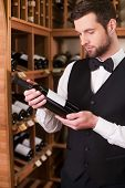 picture of liquor bottle  - Confident young man in waistcoat and bow tie holding bottle with wine and looking at it while standing in liquor store - JPG