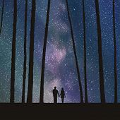 image of starry sky  - Vector illustration with silhouette of loving couple under starry sky - JPG
