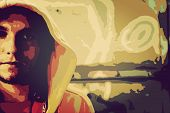 pic of graffiti  - Low poly illustration of young man portrait in hooded sweatshirt - JPG