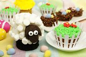 picture of spring lambs  - Colorful Easter or spring themed animal cupcake display - JPG