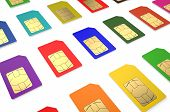 stock photo of micro-sim  - Group of color SIM cards isolated on white background - JPG