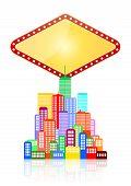 stock photo of las vegas casino  - illustration of blank las vegas sign with urban city - JPG