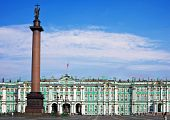 stock photo of sankt-peterburg  - Winter Palace and Alexander Column on Palace Square in St - JPG