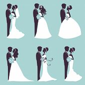 image of married couple  - Illustration of Six wedding couples in silhouette in vector format - JPG