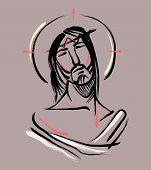 picture of jesus  - Hand drawn vector illustration or drawing of Jesus Christ at the Passion - JPG