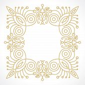 foto of monogram  - floral frame in monogram line style with space for text - JPG