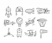 picture of aeroplane symbol  - set of 12 hand draw aviation icons - JPG