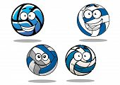 image of volleyball  - Happy cartoon leather volleyball balls characters in blue and white with smiling faces and shadows for sporting or team mascot design - JPG