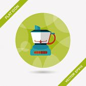 image of juicer  - Kitchenware Electric Juicer Flat Icon With Long Shadow - JPG