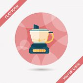 stock photo of juicer  - Kitchenware Electric Juicer Flat Icon With Long Shadow - JPG
