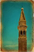 pic of blue-bell  - Burano bell tower under a blue sky - JPG
