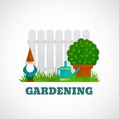 stock photo of gnome  - Gardening flat poster with gnome - JPG