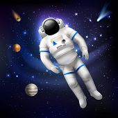 foto of outer  - Professional spaceman astronaut in costume floating in outer space vector illustration - JPG