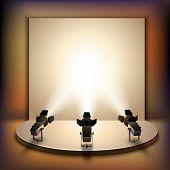 picture of spotlight  - Show studio film scene empty stage interior with spotlights realistic vector illustration - JPG