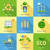 image of decorative  - Ecology concept set with recycling green power wind and solar energy decorative icons isolated vector illustration - JPG