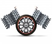 pic of  realistic  - Realistic auto car wheel with flags racing sport concept vector illustration - JPG
