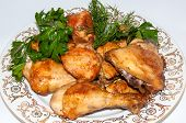 picture of roast chicken  - Dinner time roast chicken with fresh herbs - JPG