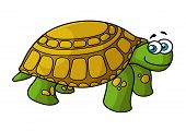 foto of carapace  - Cartoon smiling green turtle character with yellow spotted hard carapace isolated on white background for nature concept or fairy tail design - JPG