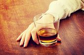 image of alcoholic drinks  - Yound beautiful woman in depression - JPG