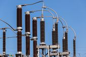 picture of transformer  - Electricity power transformer cable connections at distribution sub station - JPG