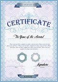 image of certificate  - Blue detailed certificate template with protective elements - JPG