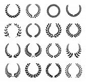 picture of laurel  - Set of 16 different black Vector laurel wreaths on a white background - JPG