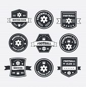 picture of crown  - Set of football or soccer emblems labels and badges with ribbon banners laurel wreaths circular frame crown and text - JPG