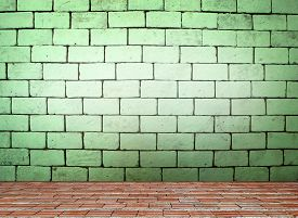 stock photo of arriere-plan  - white brick wall for background and texture - JPG