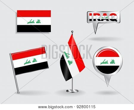 Set of Iraqi pin, icon and map pointer flags. Vector