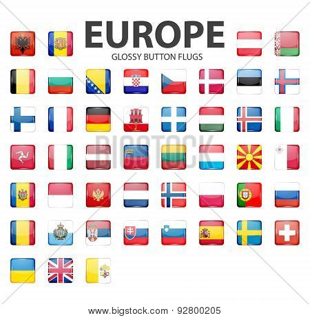 Glossy button flags - Europe. Original colors.