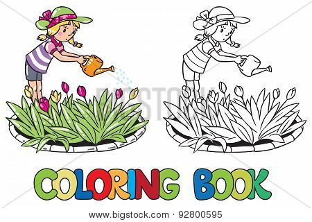 Girl watering the flowers. Coloring book