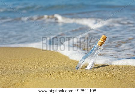 Message In A Bottle On Beach Sea